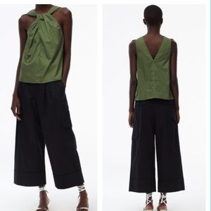 Tibi NEW Feather Weight Cotton Twill Halter Top